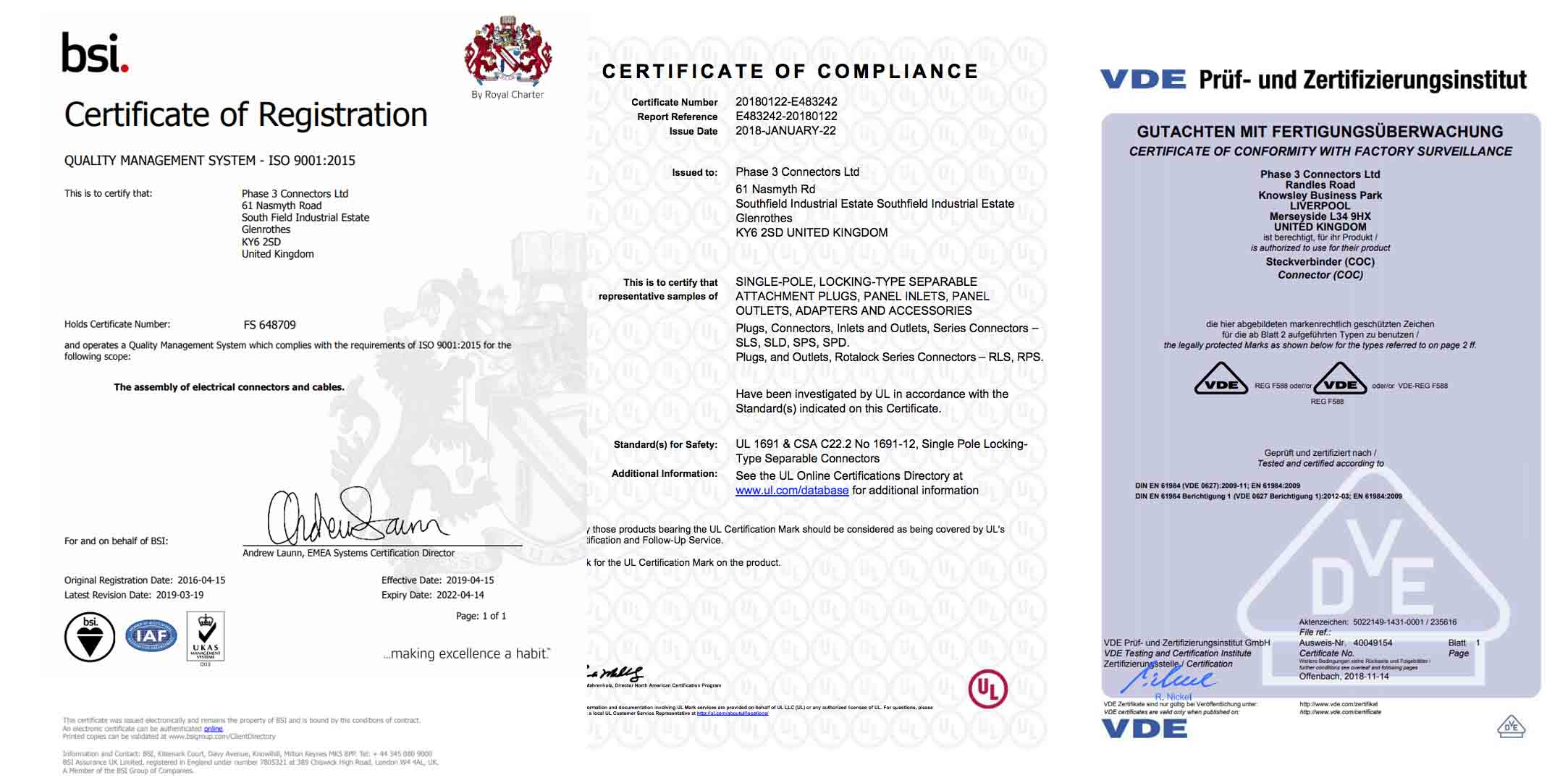 Phase 3 Certificates